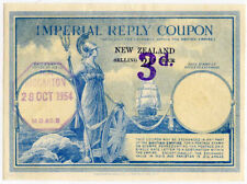 NEW ZEALAND IMPERIAL REPLY PAID COUPON IRC SHIP+BRITANNIA 3d on 2 1/2d RICCARTON