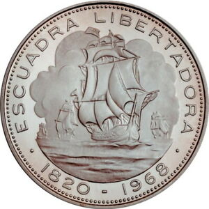"""Chile 10 pesos 1968 So, PROOF, """"Arrival of Liberation Fleet"""""""