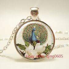 Vintage peacock Cabochon Tibetan silver Glass Chain Pendant Necklace #T30