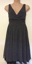 Ladies Dorothy Perkins black & white polka dot v neck sleeveless dress size 10