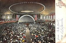 Long Beach California~Interior of Auditorium~Concert Stage~Crowd~1908 Postcard