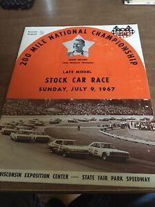1967 July 9th USAC Stock Car Racing Program Milwaukee Mile State Fair Park