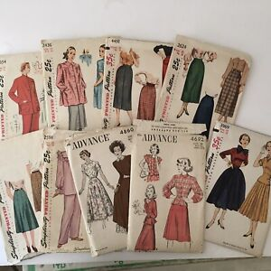 Lot of 9 1940s 50s Vintage Sewing Patterns Simplicity Advance Dresses Skirts