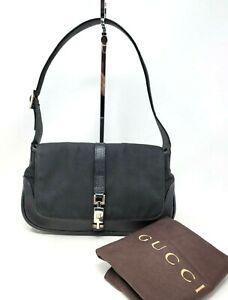 Vintage Gucci Jackie 1961 Black Canvas Small Shoulder Hobo Hand Bag Authentic