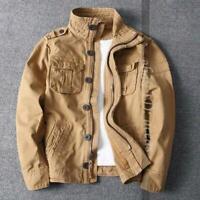 Korean Men Camo Combat Jacket Stand Collar Military Pockets Outdoor Cotton Coats