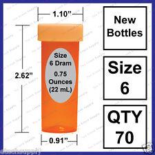 70 NEW Size 6 Dram Safety Small Empty RX Prescription Pill Bottles Craft Storage