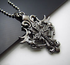 New Men's Stainless Steel Pendant fire Cross  Chain Necklace COOL Rune Scripture