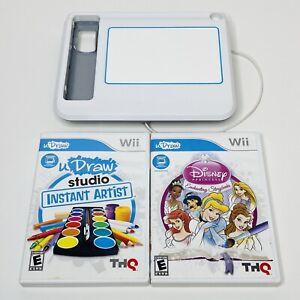 Wii uDraw Tablet White BUNDLE w/ 2 Games Instant Artist & Disney Princesses Lot