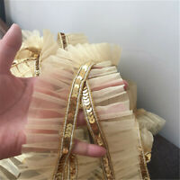 2 Yds Gold Sequins Lace Trim Gauze Ruffle Ribbon Fabric Costume Sewing DIY Craft