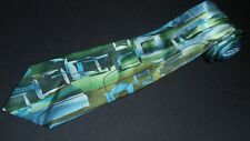 J Garcia Tie Extra Long XL Space Containers Coll 56 Green Blue Abstract Silk