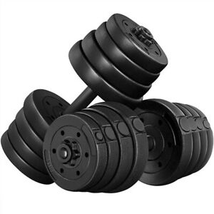Weight Dumbbell Set 66 LB Adjustable Cap Gym Home Barbell Plates Body Workout