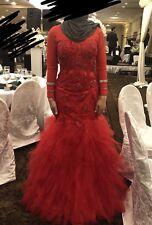 Red Long Sleeve Formal Dress Modest Muslim Arabic Wedding