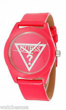 GUESS TRIANGLE LOGO HOT PINK PATENT LEATHER STRAP LADY WATCH W65014L3