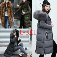 Winter Womens Long Down Cotton Parka Fur Collar Hooded Coat Quilted Jacket L-3XL