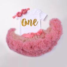 Baby Girl First Birthday Premium 3pcs Outfit Tutu Bodysuit Headband Pink One