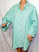 Southern Lady Women Plus Size 1x 2x 3x Green White Button Down Shirt Top
