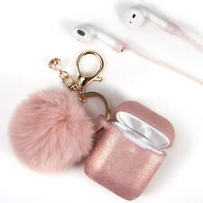 AirPods Silicone TPU Skin Case Fur Ball Key chain Cover For Apple Airpods 1 & 2