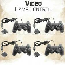 4x Black Twin Shock Video Game Controller Joypad Pad for Sony PS2 Playstation 2
