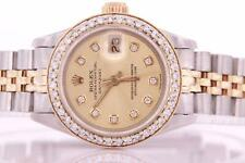Ladies Rolex Date Stainless Steel & Gold Automatic Diamond Watch Box and Papers