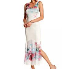 Komarov DRESS M NWOT Rosewood Floral High Slit Maxi Mesh