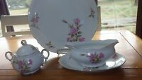 Hostess Set Rosetta by MIKASA Chop Plate Gravy Boat Sugar Bowl rimmed gold