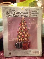 Vintage Elegant Mini Christmas Tree Craft Kit w Bedford Bendable Ribbon New Rare