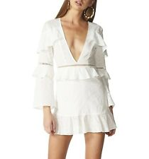 Lioness One Last Kiss Embroidered Anglaise White Plunging V Neck Dress NWT M 10