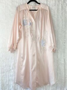 NATORI Kimono Robe SMALL (fits LARGE) Vintage Flannel Lined Satin Pink Floral