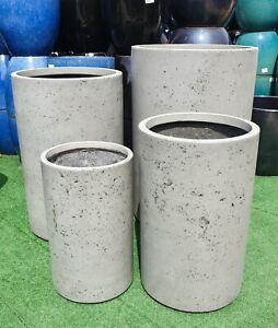 Outdoor Garden Patio Round Planter Modstone Marnus Tall Cylinder Steel Grey