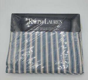 Ralph Lauren Claudine Blue Striped Twin Flat Sheet Made In USA 100% Cotton