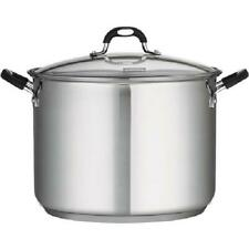 Stainless Steel 16 Quart Covered Stock Pot Cooking Kitchen Cook Food Clear Lid