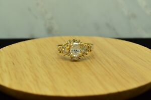 14K YELLOW GOLD PAVE DESIGN OF CUBIC ZIRCONIA RING BAND SIZE 8
