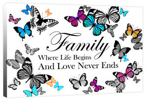 Family Where Life Begins - Butterfly Love Quote Canvas Wall Art Print Picture
