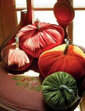 Pretty set of 4 Soft Fall Velvet Round Fluffy Pumpkins Halloween Pillows