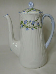Shelley rare shape Oleander Harebell tall narrow chocolate pot 3 cup 13590 lid r