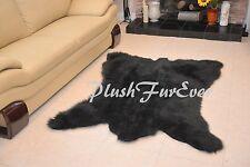 """58"""" x 72"""" A44 CHUBBY NEW BEAR Designs Black Bearskin Shaggy Fur Area Rug 1.5"""""""
