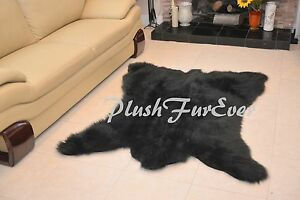 """36"""" x 58"""" A42 CHUBBY NEW BEAR Custom Made USA Black Bearskin Shaggy Fur Area Rug"""