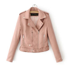 Women Ladies Lapel Leather Jacket Coat Zip Biker Short Punk Cropped Tops Outwear