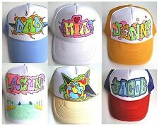 Trucker Hats Caps Custom Names Graffiti Hand Drawn Airbrush Baseball