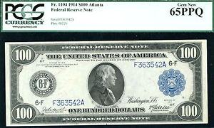 1914, $100 FR #1104-ATLANTA FRN-RARE- PCGS 65PPQ