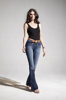 MCGUIRE DENIM Majorelle Raw Hem Mid Rise Flare Jeans Faded Blue 24 $248 #48