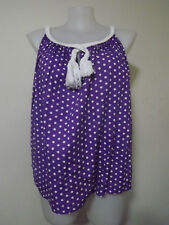 LOVELY Purple/White Polka Dot Sleeveless Top ....... Size: 18/20   #A0418