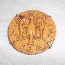 Vintage Handmade Carved Eagle Pin Brooch Leather-Like! Unique!