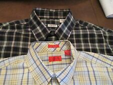 2 IZOD PLAID SHIRTS WITH LOGO DRESS OR CASUAL SIZE M