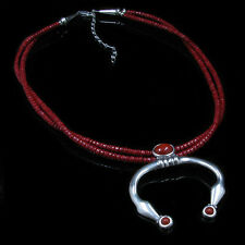 GORGEOUS 2 Strand .925 Sterling Silver Italian Red Coral Naja Necklace