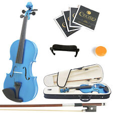 Mendini Size 3/4 Solidwood Violin Metallic Blue+ShoulderRest+ExtraStrings+Case