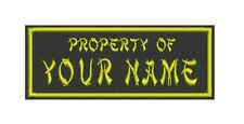 """Name tag, Custom Embroidered Ribbon, Biker Patch Rectangle 6"""" x 2"""" - Property of"""