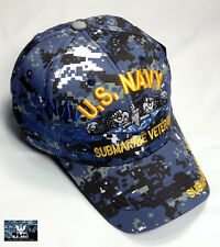 US Navy Submarine VETERAN Ball Cap Sub Service NWU Hat SHADOW BLUE Digital Camo