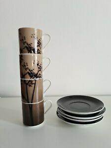 4 x Wren Ibride Porcelain Stackable Espresso Cups Saucers Collection 2006 *FLAW*
