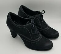 Ecco Black Nubuck Leather Lace Up Oxford Heel Witch Booties Womens Size 41 US 8